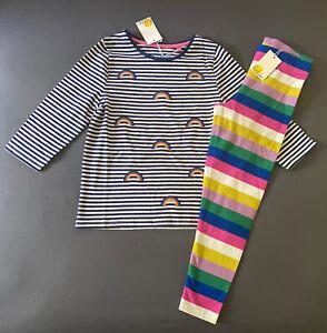 Girl's Size 7-8 Years Mini Boden Striped Rainbow Appliqué Top & Soft Leggings