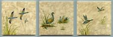 "3 Hand painted 6""sq tiles by Campbell Tile Co, 1950"