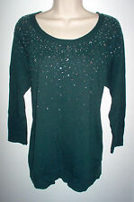 WOMENS SWEATER LARGE FOREST GREEN EMBELLISHED APT. 9 NEW w/TAGS RETAIL $50