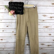 Cache Womens Pants Size 2 Goat Suede Jeweled Waistband Straight Leg Tan**350