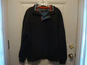 Orvis Signature Collection Fleece Sweatshirt Pullover 1/4 Zipper Snap Green Sz L