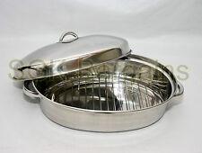 4.5L 37cm Ovale Casseruola Piatto di torrefazione vassoio da forno Casseruola Pentola con coperchio Rack &