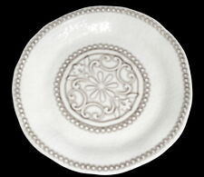 "IL Mulino Melamine 19"" ROUND SERVING PLATTER Taupe Medallion Hobnail Excellent"