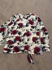 BNWT IVORY MIX PER UNA FROM MARKS AND SPENCER FLORAL PRINT TIE FRONT T SHIRT 10