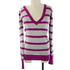 Aeropostale Women Juniors Sweater Tunic Size Medium Gray Purple Stripe V Neck