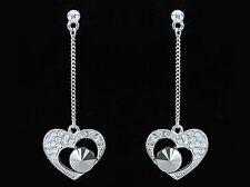Boucles d'oreille cubic zirconia 1 Carat cristal swarovski pendants coeur