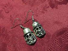 Pierced Silvertone Skull Earring Pair Wires