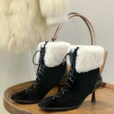 Womens Fashion Leather Lace Up Fur Lined Cuffed High Heel Ankle Boots Shoes J103