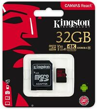 Kingston Canvas React 32GB microSDHC C10 microSD U3 V30 A1 100MB/s 32G SDCR/32GB