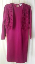 Womens S Berry Pink Sweater Dress Attached Crochet Vest Acrylic Vintage Darian