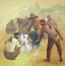 CESAR BUENAVENTURA (1919-1983) Original Filipino Oil Cockfight Philippines 1979