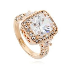 VINTAGE INSPIRED LARGE 18K GOLD PLATED GENUINE CLEAR AUSTRIAN CRYSTAL & CZ RING