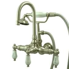 Kingston Brass Wall Mount ClawFoot Tub Faucet & Hand Shower - Satin Nickel