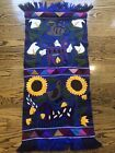 """Hand Made Woven South American Folk Art Tapestry Wall Hanging Flowers Animal 45"""""""