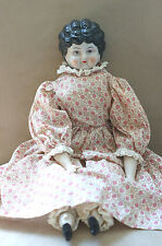 Vintage China Head Doll Low Brow Porcelain Head; Hands; Feet & Stuffed Body, EC!