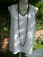 Art deco flapper style jet black glass faceted hand knotted beads necklaces