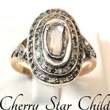 Vintage antique Georgian genuine diamond ring 18k gold & sterling silver