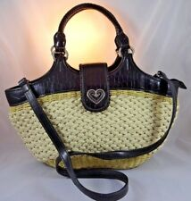 Coldwater Creek Two-Toned Straw Purse w/ Hearts & Black Faux Crocodile Leather