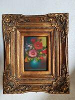 quadro dipinto a mano su tela cornice in legno foglia oro baroc classico
