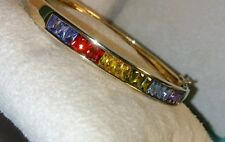 Ross Simons 18k yellow gold/sterling silver Rainbow of colors-Bangle Bracelet