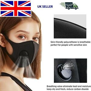 Quality Unisex Black Reusable & Washable Face Mask with Air Flow Valve Filter