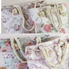 Womens Tote Bag Vintage Style Floral Design Rope Handles 3 Styles Available