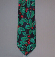 Hallmark Yule Tie Greetings HOLLY BERRIES & IVY Holiday Polyester Neck Tie #731