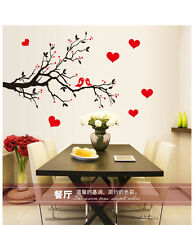 BLACK BRANCH WITH  RED LOVE HEARTS REMOVABLE WALL STICKER 85CM WIDE X 60CM HIGH