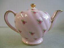 VINTAGE SADLER ENGLAND SWIRL TEAPOT PINK WITH ROSES & GOLD TRIM