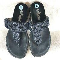 Alegria Tangoh Black Beaded Leather Thong Flip Flop Sandal Women's 6