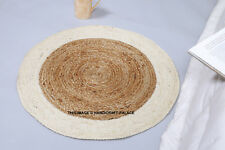 Fair Trade Jute & Cotton Braided Natural Round Indian Rug 60cm