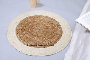 Fair Trade Jute & Cotton Braided Natural Round Indien Rug 60cm