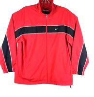 Nike Windbreaker Men XXLarge XL Red / Black Zipper Up Jacket Long Sleeve