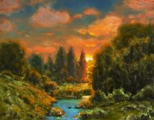 Oil Painting Original Landscape Western Art Rembrandt Sunset Signed MAX COLE
