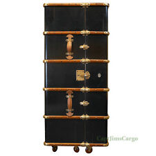 "Stateroom Bar Black Steamer Travel Trunk 58"" Home Pub Nautical Furniture New"