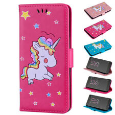 Cute Unicorn Leather Wallet Magnetic Shockproof Flip Stand Case Cover For Snoy