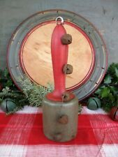 New listing Early Antique Wood Masher Red and Green Milk Paint