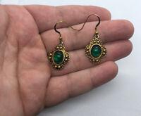 Vintage Textured Gold Tone & Faux Emerald Dangle Hook Earrings