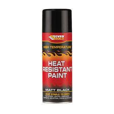 Everbuild High Heat Resistant Black Spray Paint 600 Degrees C 400ml Stove Fire