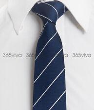 Blue White Stripes Skinny Slim Narrow Woven Silk 6.5 cm Wedding Neckwear Tie