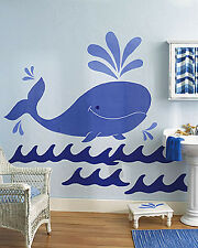 Huge 5' Blue Whale Wall Murals Ocean Waves Sea Life Jonah Nursery Decor Decals