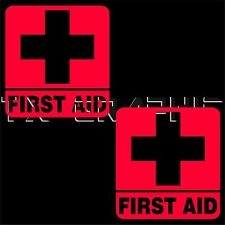 FIRST AID STICKER  SIGN SYMBOL VINYL DECAL  SAFETY KIT WALL WINDOW  1 SET OF 2