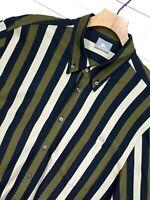 Mens LACOSTE Basi S.A Vtg retro stretch fit striped shirt silver croc Size 7 2XL