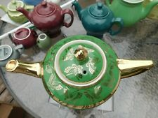 Vintage Hall China Cleveland Teapot Emerald Green With Gold Butterflies 015.2.S