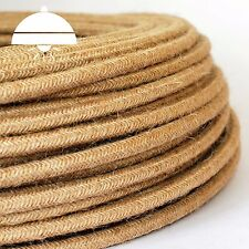 HEMP /HESSIAN - ITALIAN PREMIUM THICK Vintage fabric Style ROUND 3-Core cable