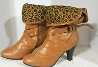 MAX Collection, Tan Faux leather, buckle Slouch ankle boots, Women's Size 10