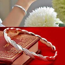 925 sterling silver Plated Bangle Bracelet open bracelet women's