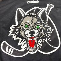 Reebok Chicago Wolves Hockey Jersey AHL Black Red Hand Sewn #47 - Mens XL