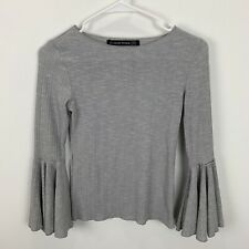 Haute Rogue Women's Seventies Boho Gray Long Bell Sleeve Top Shirt, Size Small
