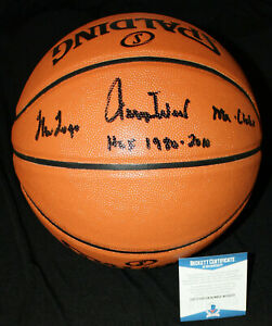 Jerry West signed & inscribed Spalding Basketball, Lakers, Beckett BAS